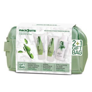 MACROVITA GIFT SET: 24-hour ultra fine moisturizing cream 50ml + face peeling 50ml + FREE deep cleansing liquid soap 100ml + travel bag