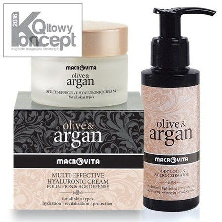 MACROVITA OLIVE & ARGAN SET: HYALURONIC CREAM POLLUTION & AGE DEFENSE all skin types 50ml + BODY LOTION with Hyaluronic Acid for all skin types 100ml