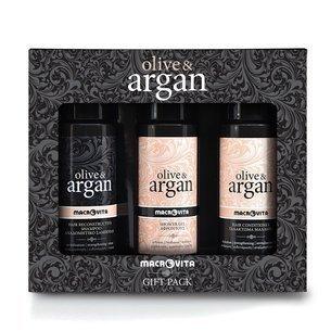 MACROVITA OLIVE & ARGAN GESCHENK-SET: regenerierende Shampoo mit Arganöl 100ml + Haar-Conditioner mit Arganöl 100ml + FREI duschgel mit Arganöl 100ml