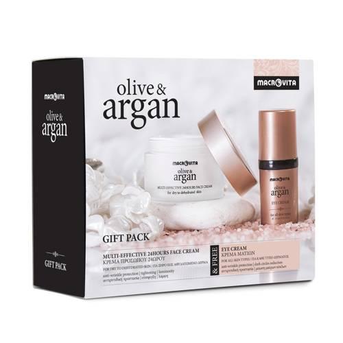MACROVITA OLIVE & ARGAN GESCHENK-SET: 24-Stunden-Creme für trockene oder dehydrierte Haut 50ml + FREI Augencreme 15ml