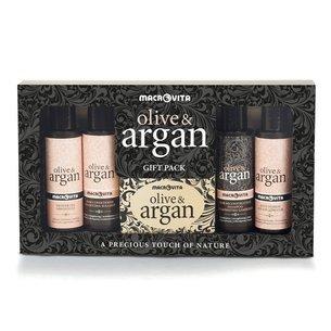 ZESTAW MACROVITA OLIVE & ARGAN: regenerujący szampon 40ml + odżywka do włosów 40ml + mydło z oliwą z oliwek i olejkiem arganowym 50g + żel pod prysznic 40ml + mleczko do ciała 40ml